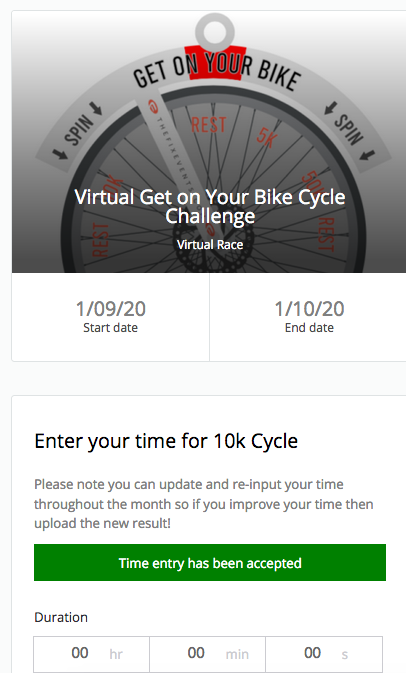 Get on your bike cycle virtual challenge 5k 10k 25k 50 london england uk