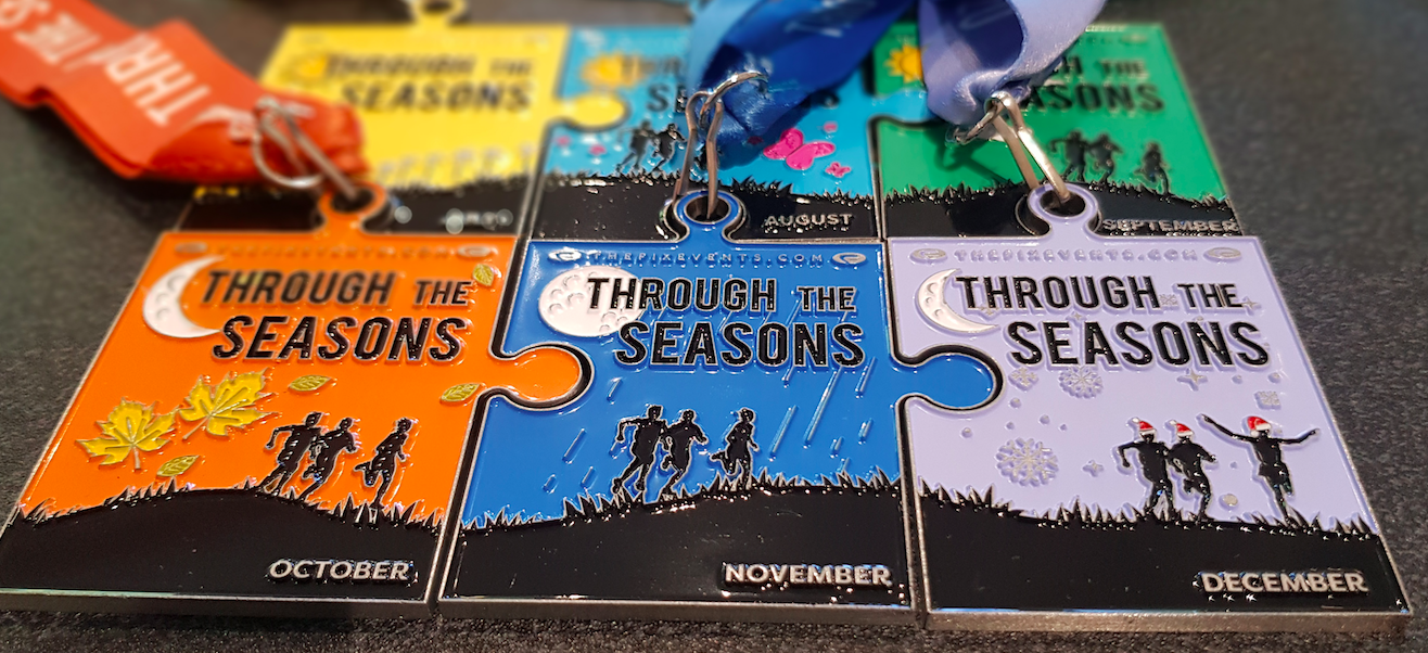 Through the Seasons Run Challenge 5k 10k half marathon virtual running virtual events