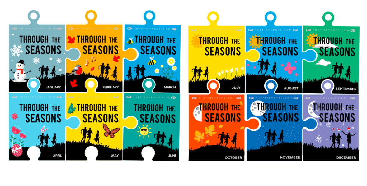 Through the Seasons Virtual Run Challenges 5k 10k half marathon fix events
