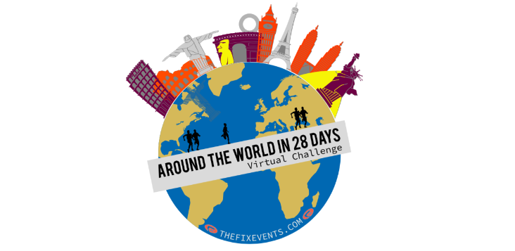 Around the world in 28 days run challenge 5k 10k half marathon virtual running
