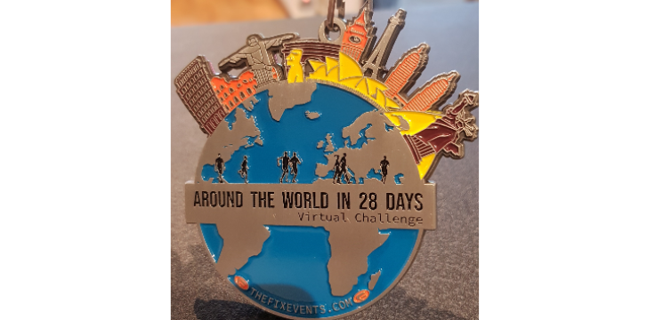 Around the World in 28 Days Run or Walk Challenge Medal